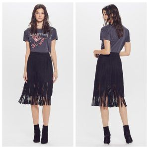 MOTHER The Fringe Faux Suede Black Skirt M NWT